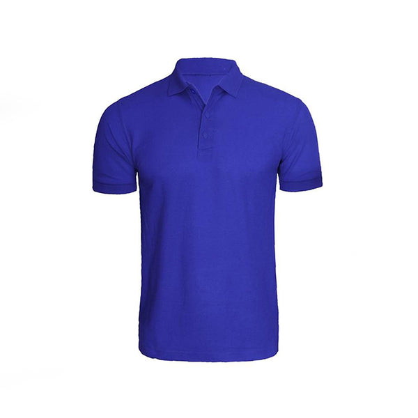 Royal Blue Cotton Polo Half Sleeves T-Shirt For Men