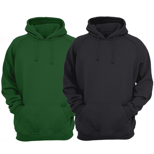 Bundle Of 2 : Black & Hunter Green Plain Kangroo Hoodie