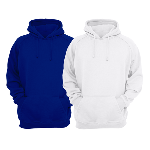 Bundle Of 2 : White & Royal Blue Plain Kangroo Hoodie