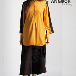 Angoor Mustard Two  Colour Block Tunic