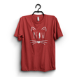 Maroon Cotton Meow Printed Tshirt For Women