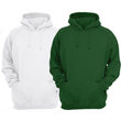 Bundle Of 2 : White & Hunter Green Plain Kangroo Hoodie