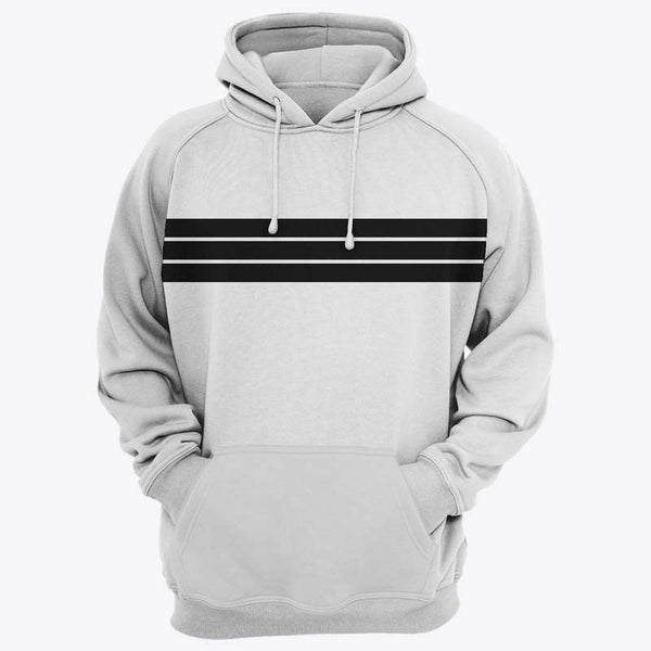 Black Striped Printed Hazel Grey Hoodie Kangaroo