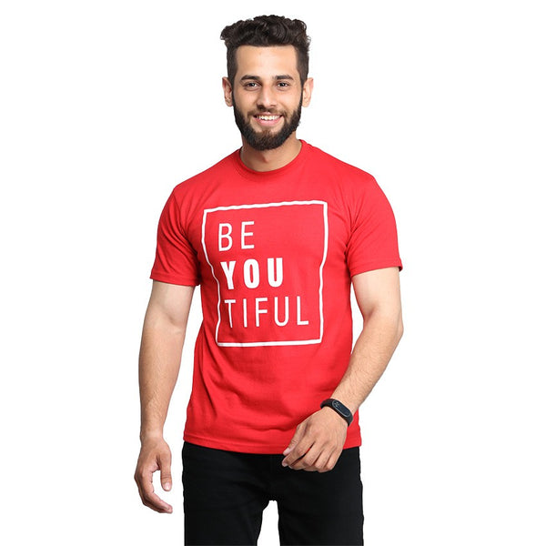 Red Beautifull Printed T-shirt For Men