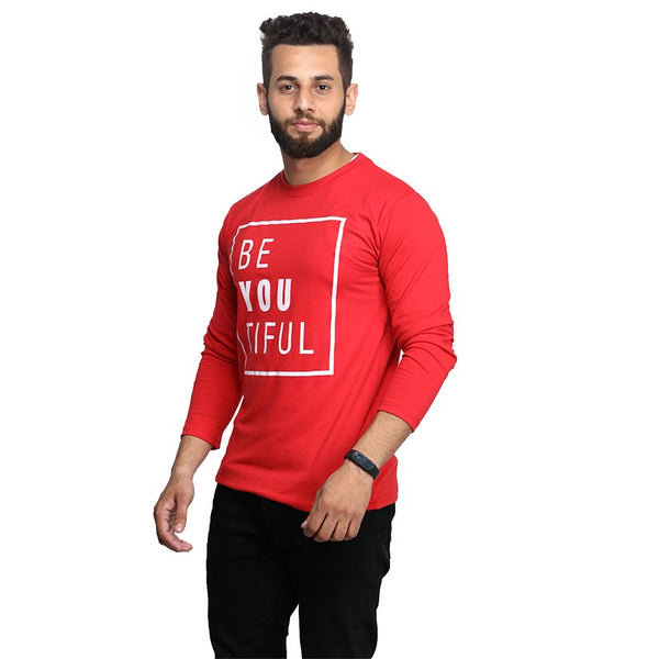 Red Beautifull Printed Full T-shirt For Men
