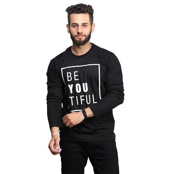 Black Beautifull Printed Full T-shirt For Men