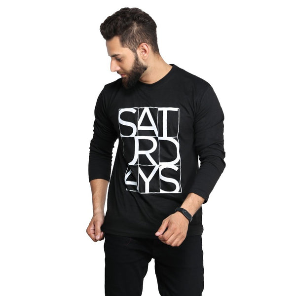 Black Saturday Printed Full T-shirt For Men