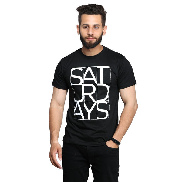 Black Saturday Printed T-shirt For Men
