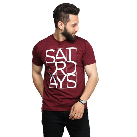 Maroon Saturday Printed T-shirt For Men