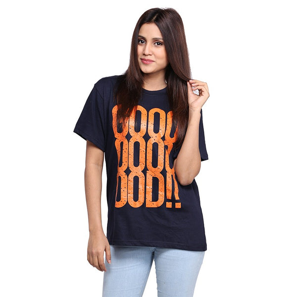 Navy Blue Good ! Printed T-shirt For Women
