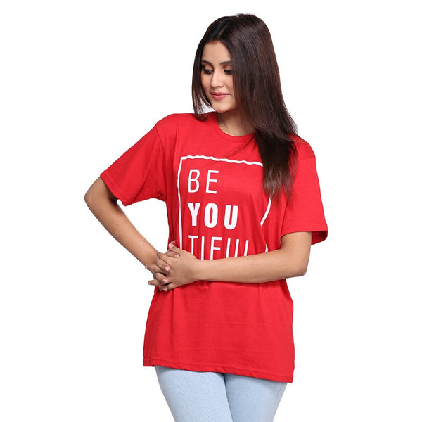 Red Beautifull Printed T-shirt For Women