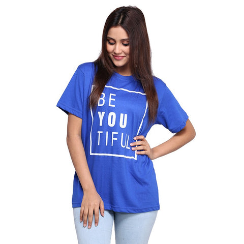Royal Blue Beautifull Printed T-shirt For Women