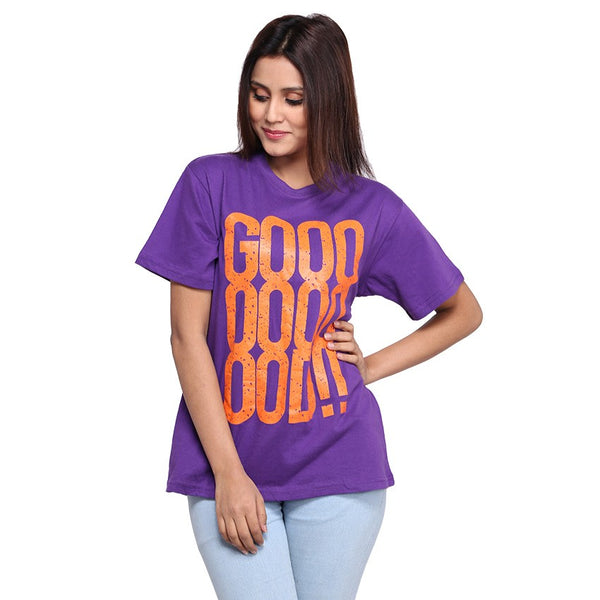 Purple Good ! Printed T-shirt For Women