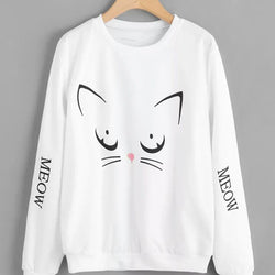 White Meow Printed Sweatshirt Fro Women
