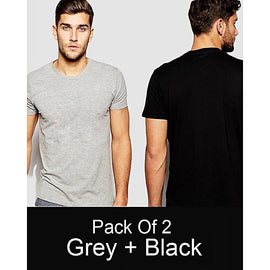 Pack of 2 - Grey And Black Plain T-shirt For Men