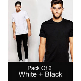 Pack of 2 - White And Black Plain T-shirt For Men
