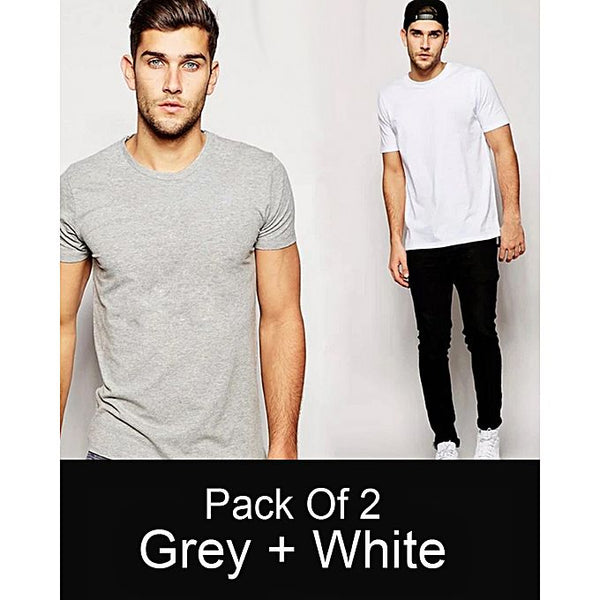 Pack Of 2 Grey And White Plain T-shirt For Men