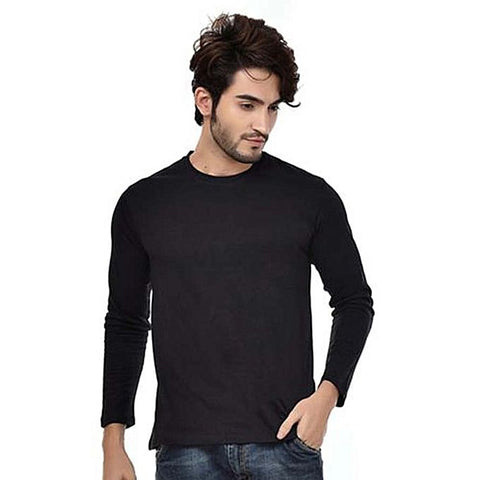Black Cotton Full Sleeves Round Neck T-Shirt For Men
