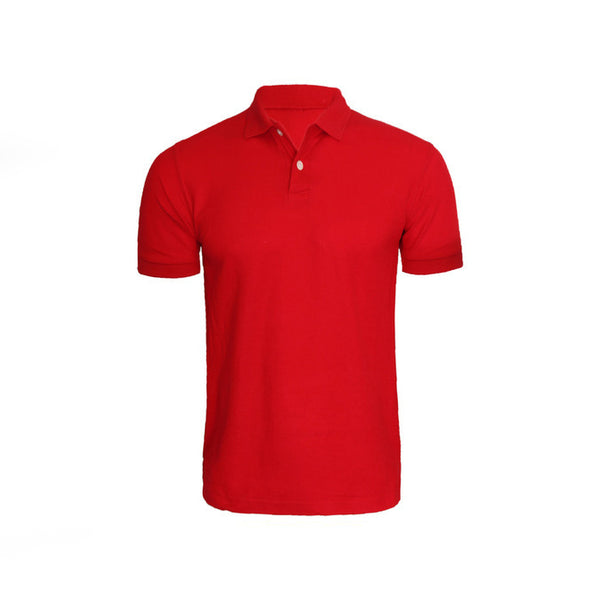 Red Cotton Polo Half Sleeves T-Shirt For Men