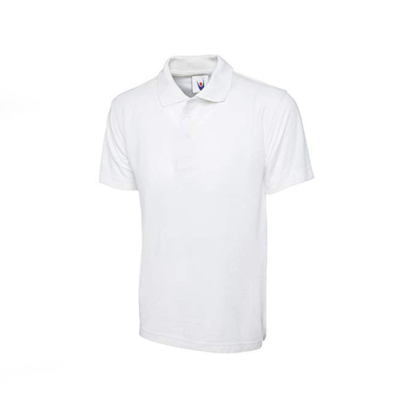 White Cotton Polo Half Sleeves T-Shirt For Men