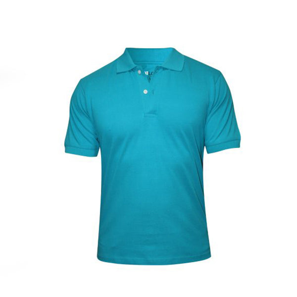Turquoise Blue Cotton Polo Half Sleeves T-Shirt For Men