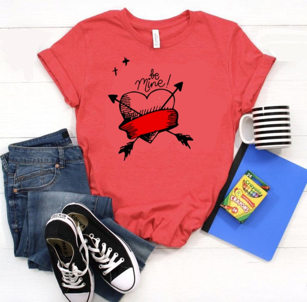 Be mine Printed Red T-shirt For Women