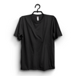 Black Cotton Plain Round Neck Half Sleeves Tshirt For Women