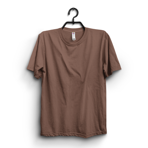 Brown Cotton Plain Round Neck Half Sleeves Tshirt For Women