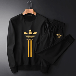 Adidas Black Summer Golden foil Printed Tracksuit