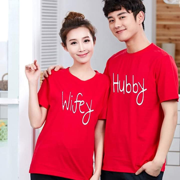 Hubby Wifey Printed Red T-shirt For Couples