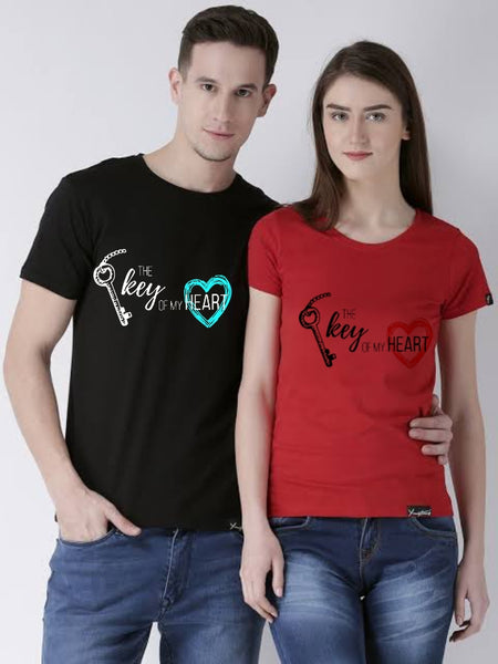 Key Of My Heart Printed Black and Red T-shirt For Couples