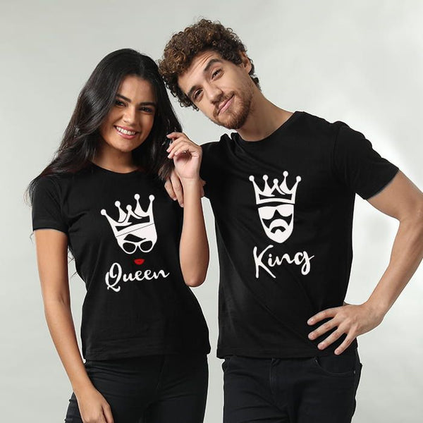 New King Queen Printed Black T-shirt For Couples