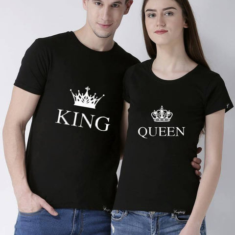 King Queen Printed Black T-shirt For Couples