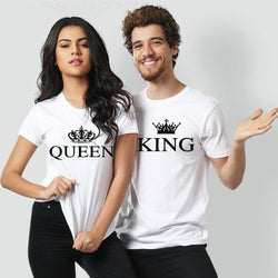 King Queen Printed White T-shirt For Couples