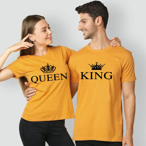 King Queen Printed Yellow T-shirt For Couples