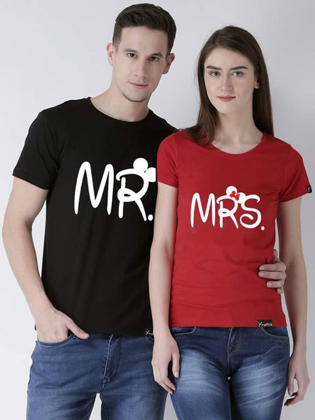 Mr and Mrs Printed Black and Red T-shirt For Couples