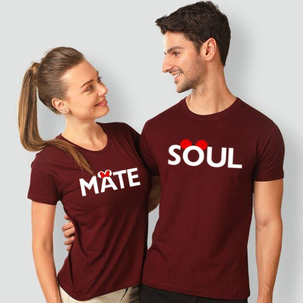 Soul Mate Printed Maroon T-shirt For Couples