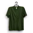 Hunter Green Cotton Plain Round Neck Tshirt For Women