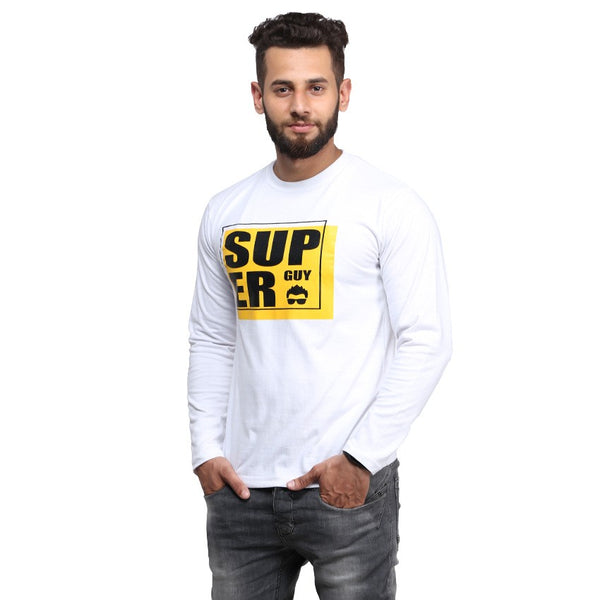 White Super Guy Printed Full Sleeve T-shirt For Men