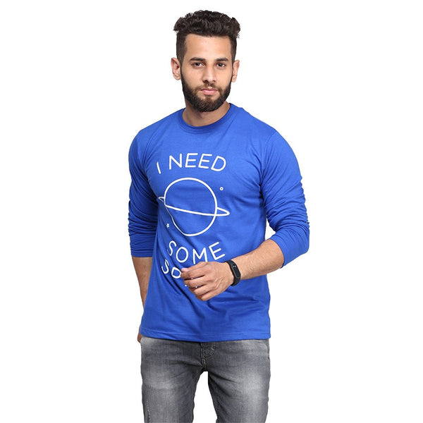 Royal Blue I Need Some Space Printed Full Sleeve T-shirt For Men