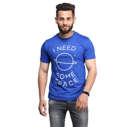 Royal Blue I Need Some Space Printed T-shirt For Men