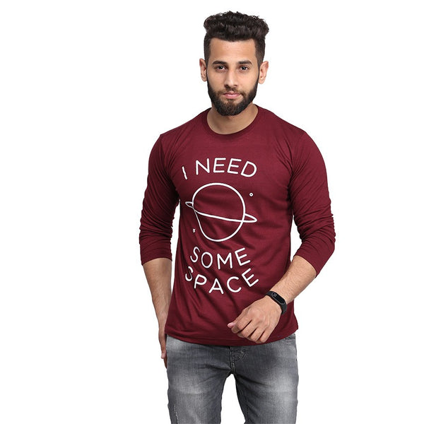 Maroon I Need Some Space Printed Full Sleeve T-shirt For Men