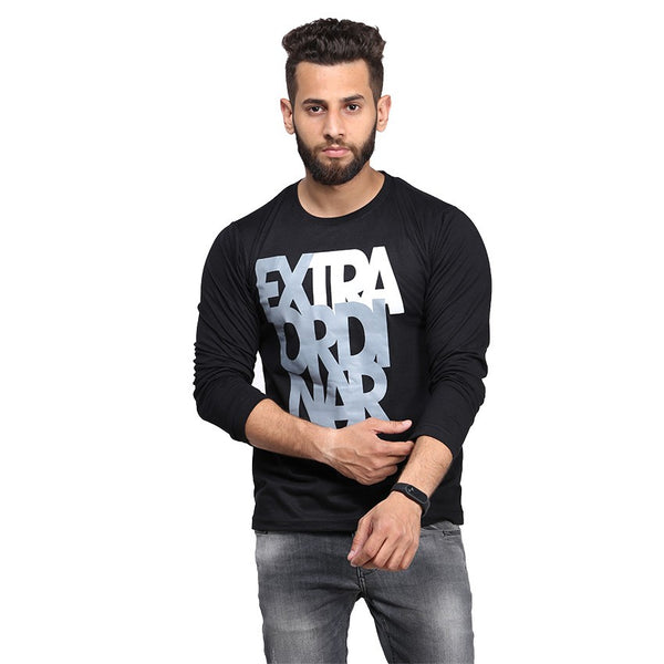 Black Extraordinary Printed Full Sleeve T-shirt For Men