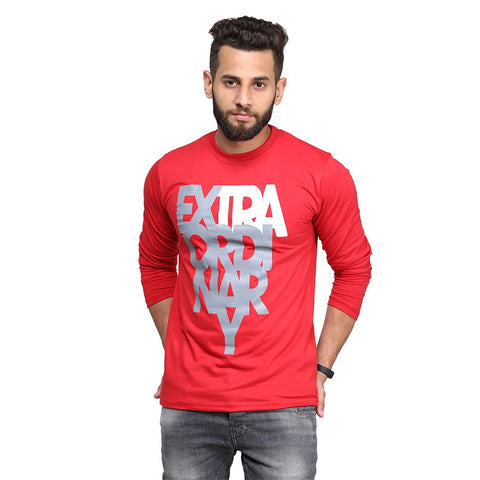 Red Extraordinary Printed Full Sleeve T-shirt For Men