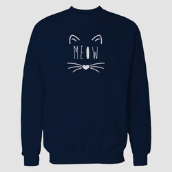 Navy Blue MEOW Printed Sweatshirt