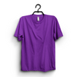 Purple Cotton Plain Round Neck Tshirt For Women
