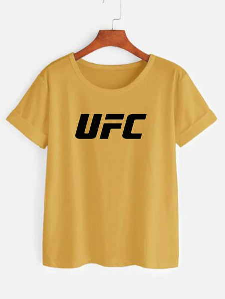 UFC Printed Yellow T-shirt