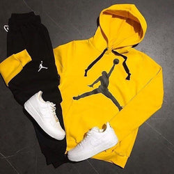 Jordan Yellow & Black Printed Tracksuit