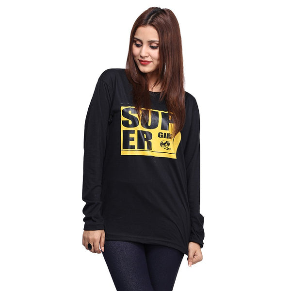 Black Super Girl Printed Full Sleeve T-shirt For Women