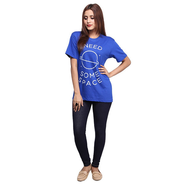 Royal Blue I Need Some Space Printed T-shirt For Women